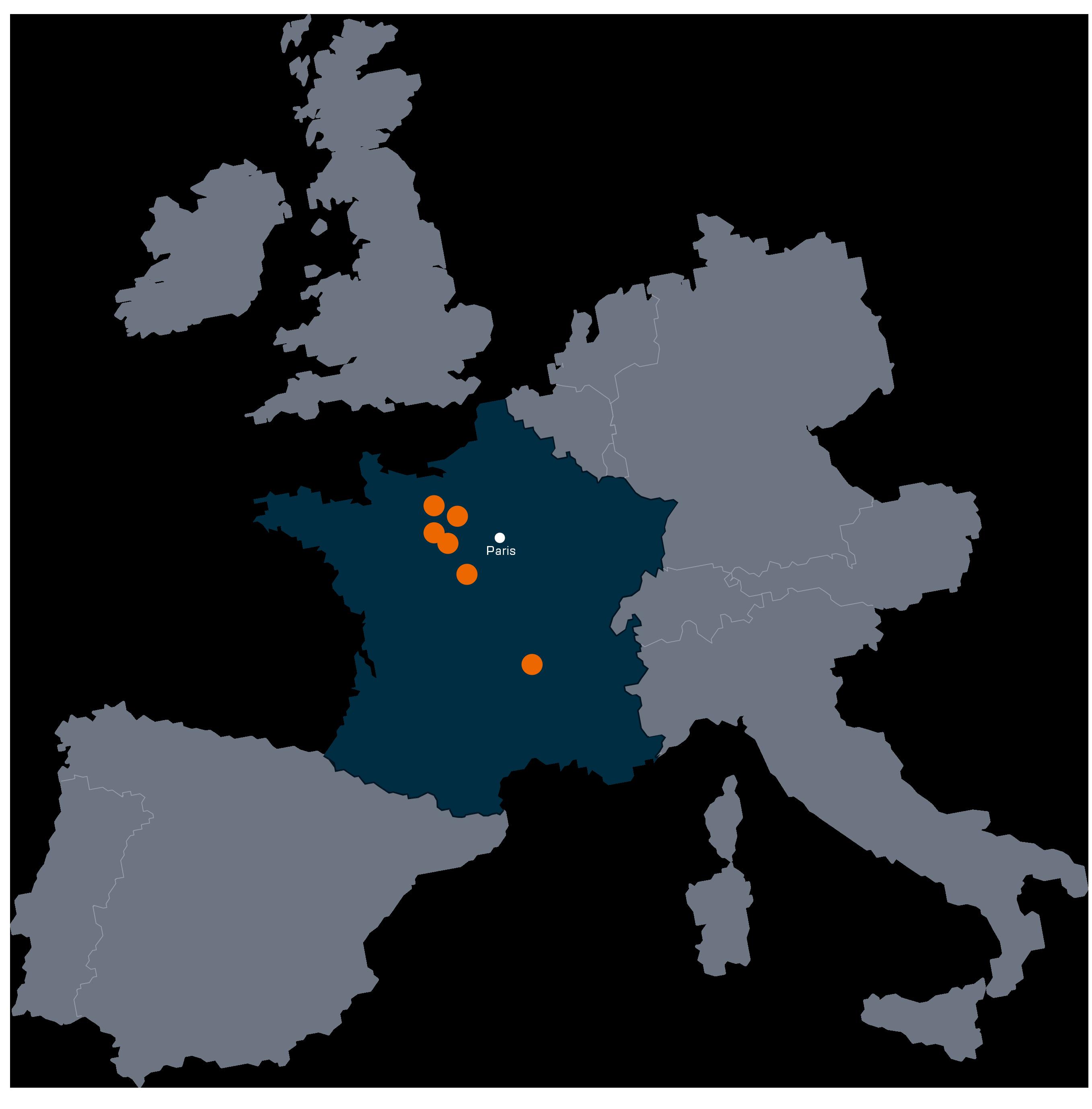 Carte des implantations des usines Artub en France